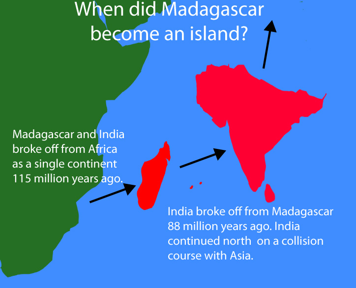 Madagascar and India from Africa
