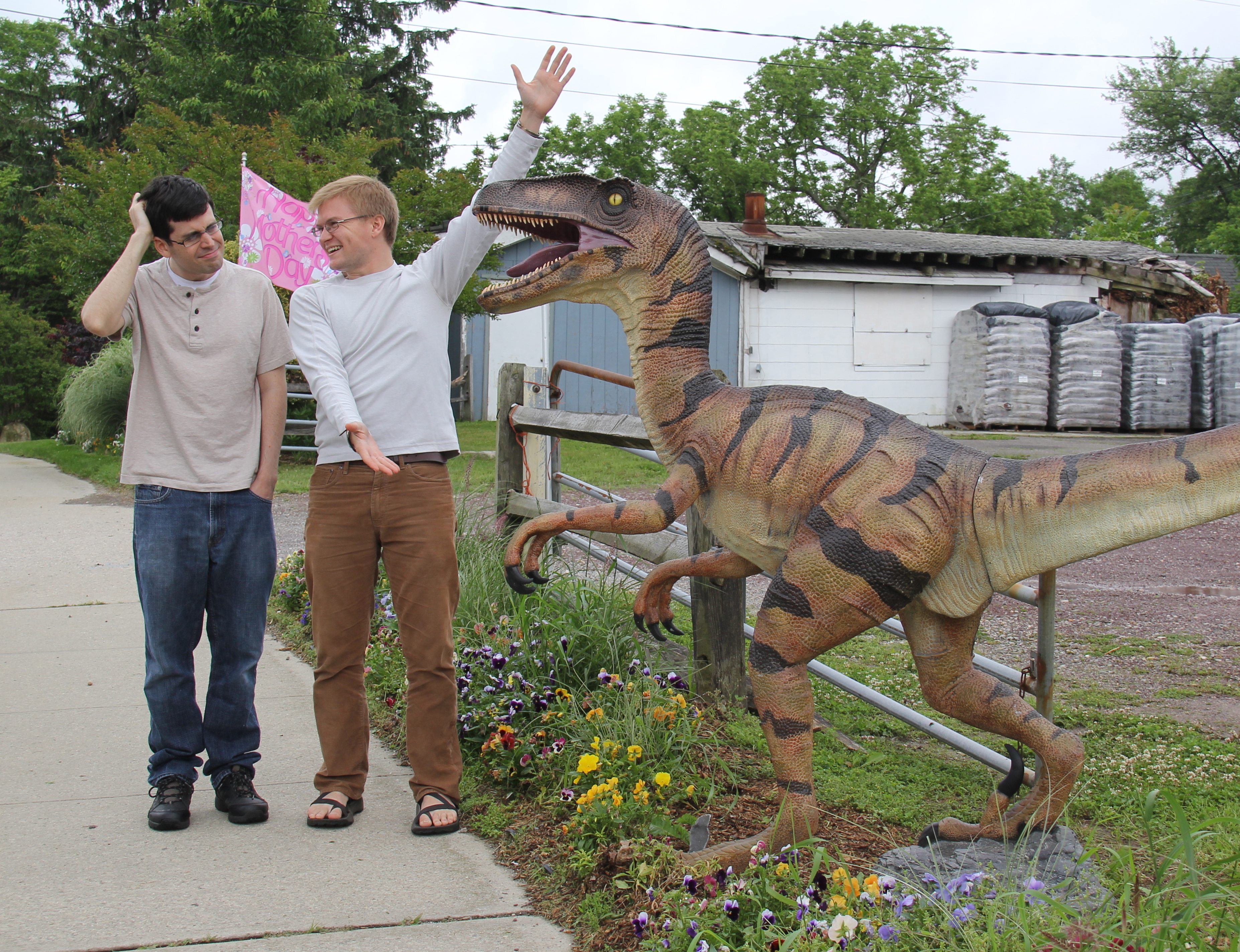 Adam (left) and Matt (right) go bird/dinosaur watching to do some research for the show.