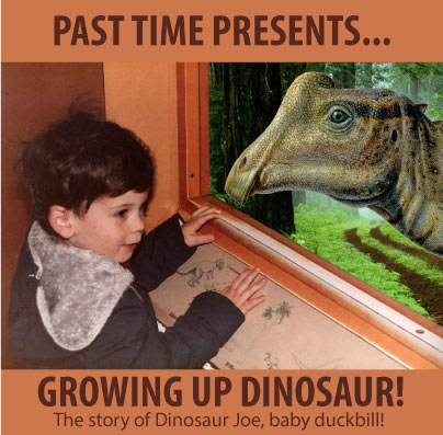 Baby human looks at baby dinosaur at a museum