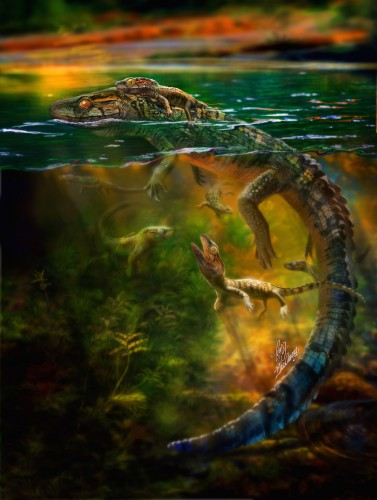 Reconstruction of Philydrosaurus and its young by Chuang Zha