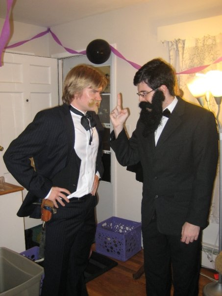 Matt Borths (dressed as Edward Drinker Cope) and Adam Pritchard (dressed as Othniel Charles Marsh). Halloween 2009.