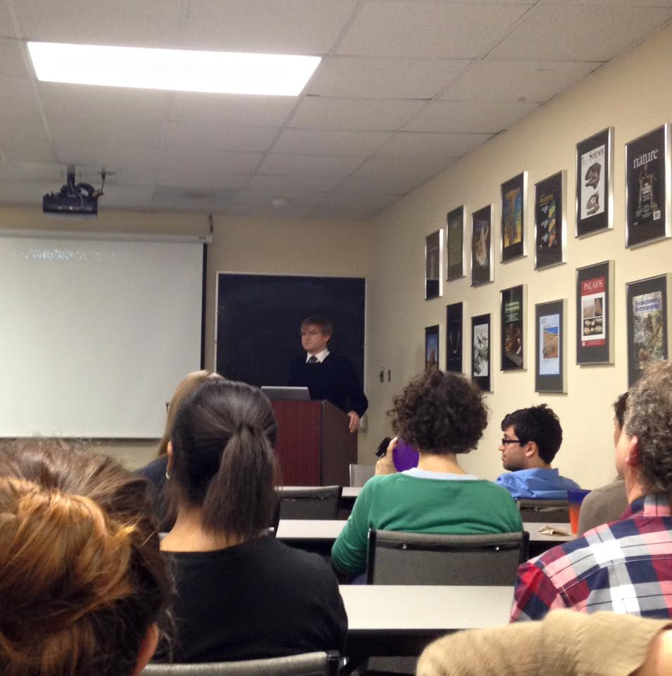 Matthew Borths defends his dissertation to the Department of Anatomical Sciences. Don't worry! He passed.