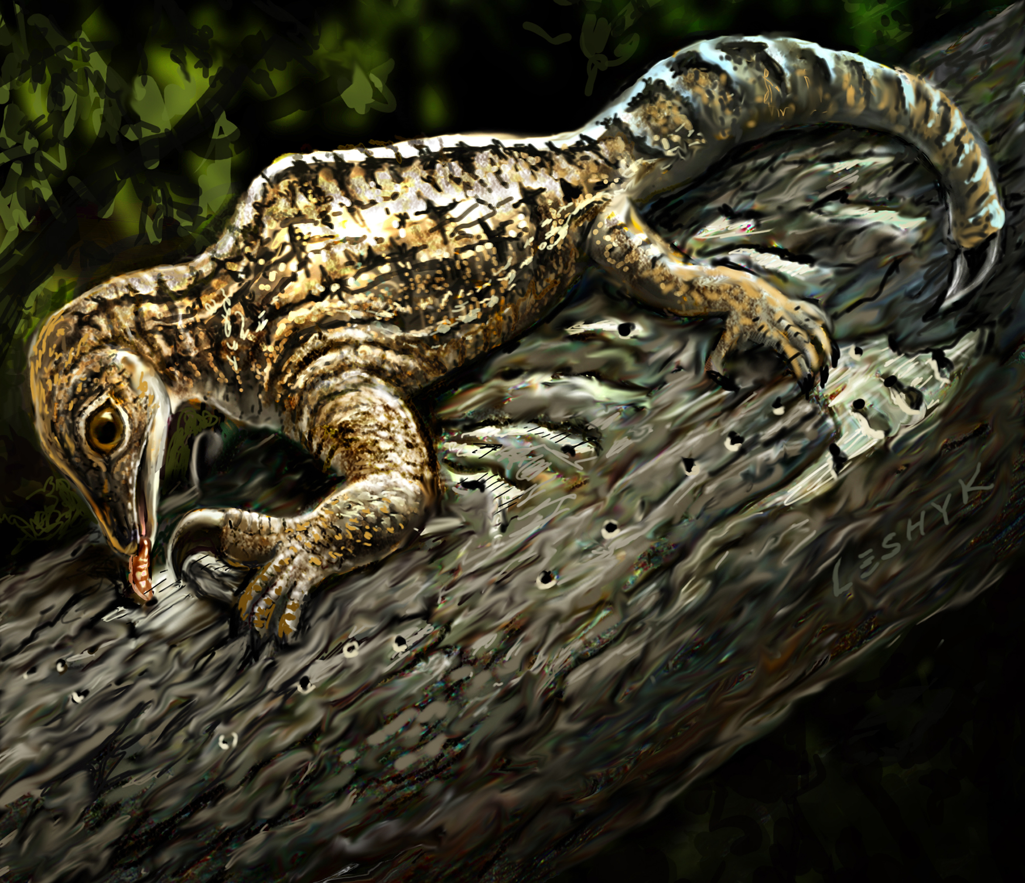 Illustration of Drepanosaurus ripping at a Triassic tree limb to get at the delicious insects inside!